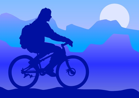 people traveling: Vector drawing silhouette of a cyclist boy on moon Illustration