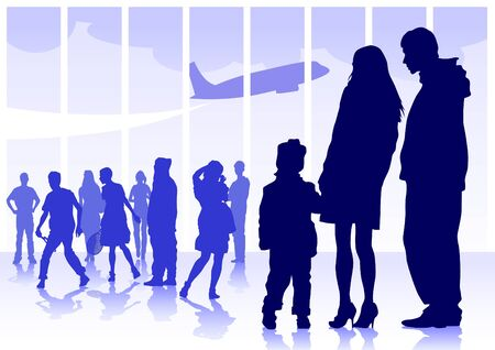 Vector drawing silhouette crowds man and women Vector