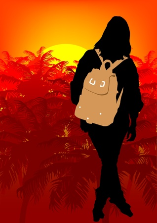 Vector image woman on a background of tropical forest Vector