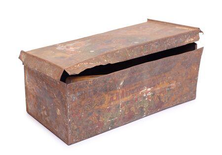 lockbox: Color photo of an old metal box