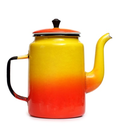 Color photo of an old metal coffee pot photo