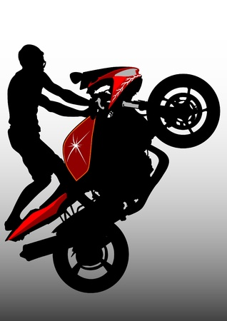 Drawing men in a sports bike Vector