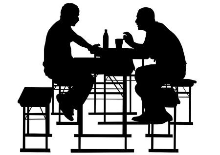 escabeau: Dessin de personnes � table dans le caf� de vecteurs