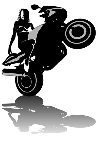 Vector drawing women to big motorcycle Vector