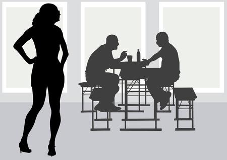 woman eat: Vector de dibujo personas a la mesa de caf� Vectores