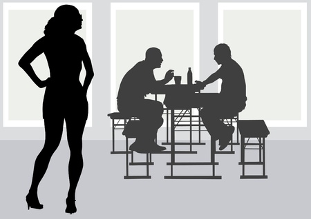 eating lunch: Vector drawing people to table in cafe