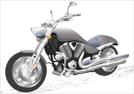 Vector drawing men to big motorcycle Vector