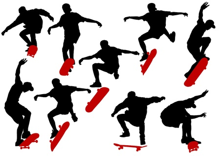 skateboarder: Vector drawing men on skateboards