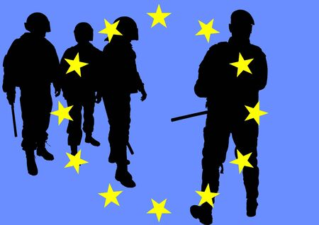 dispersal: Vector image of police and flag of europe Illustration