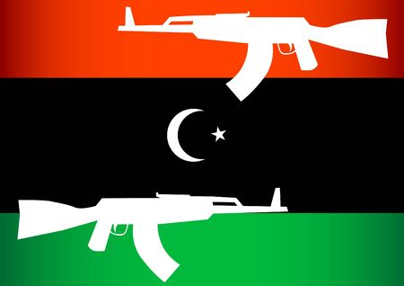 Libyan opposition flag and arms Vector