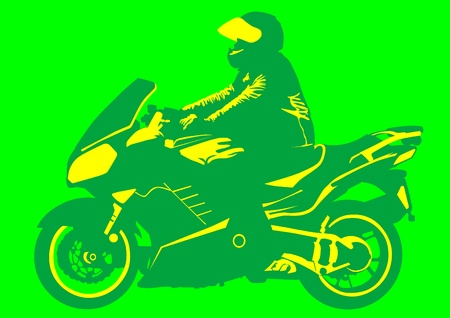 drawing a motorcycle on road Vector