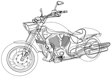 motorcycle racing:  drawing a big motorcycle