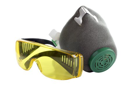 biochemical: Color photograph of goggles and respirators