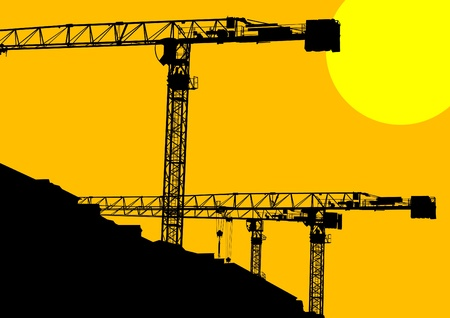 constructing: Image of construction cranes and buildings Illustration
