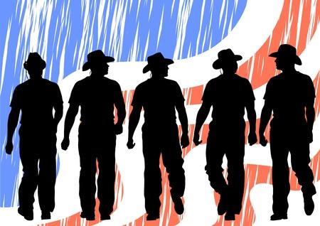 viejo oeste: Imagen de vaqueros bajo la bandera americana Vectores