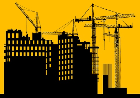 building site: Image of construction cranes and buildings Illustration