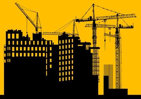large build: Immagine di gru edili ed edifici Vettoriali