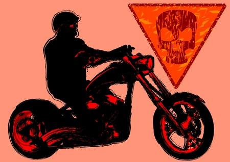 racing sign: Drawing a big motorcycle