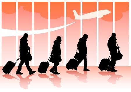 viaggiatori con valigie Vettoriali
