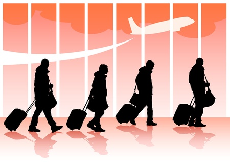 people travelling:  travelers with suitcases Illustration