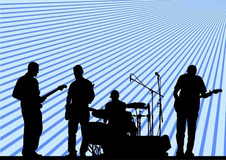 guitariste: groupe musical de concert sur la sc�ne Illustration