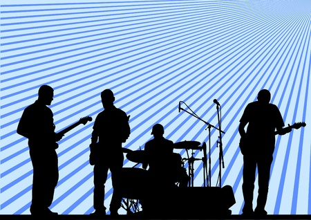 musician silhouette:  musical group in concert on stage