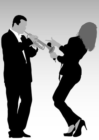 singer silhouette:  image of singer and trumpet player Illustration