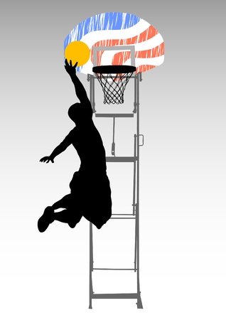 nba: Vector graphic basketball. Silhouette man with ball Illustration