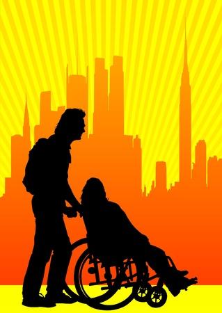Vector grafische uitgeschakeld in een rolstoel. Silhouetten van mensen Stockfoto - 10538400