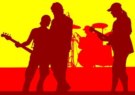 Vector grupo de dibujo musical en concierto en el escenario