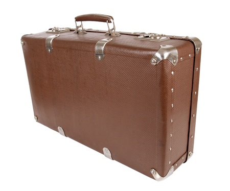 antique suitcase: Color photo of an old suitcase on white background
