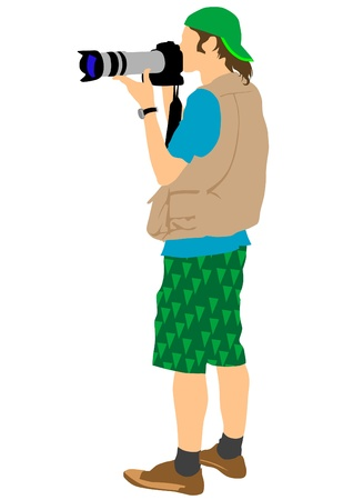 reporters: image of man with cameras on a white background Illustration