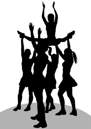 porrista: dibujo ni�as animadora athlet Vectores