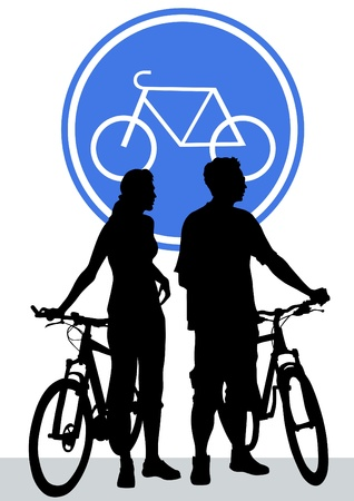 cycling race: silhouette of a cyclist boys and girls