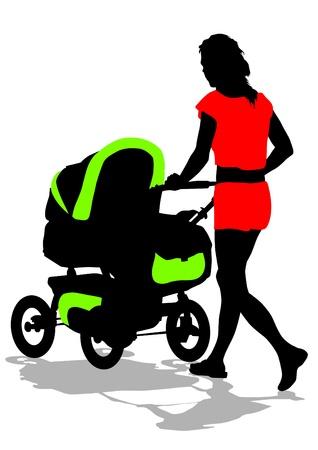 empujando: mujer de silueta con un cochecito Vectores