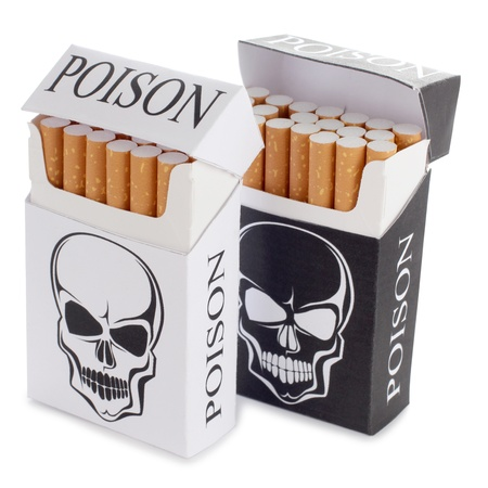 cigarette: Color photo of a cigarette pack with a skull pattern