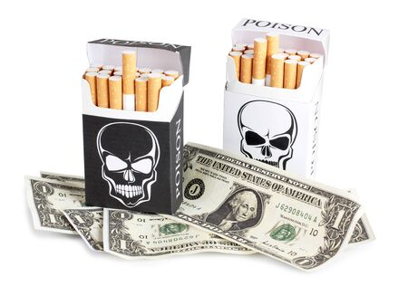Color photo of a pack of cigarettes and money Stock Photo - 10720952