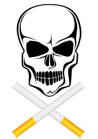 흡연자: 두개골 패턴으로 담배의 벡터 드로잉