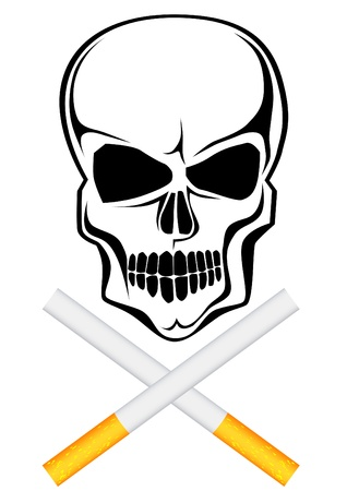 Vector drawing of a cigarette with a skull pattern