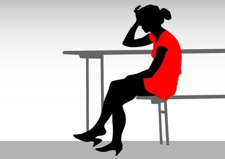 wenen: tekenen meisje in een rode jurk aan tafel Stock Illustratie