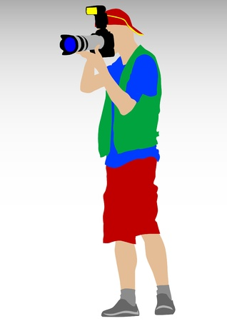 photographing: image of man with cameras on a white background Illustration