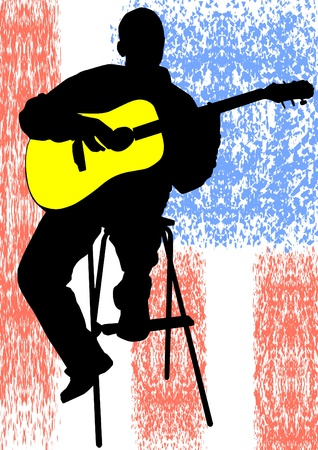 drawing of a man with an acoustic guitar Illustration