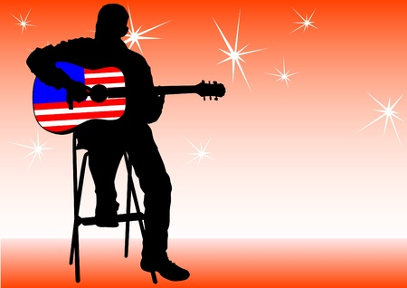drawing of a man with an acoustic guitar Vector
