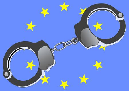 image of handcuffs and flag of europe Stock Vector - 10934270