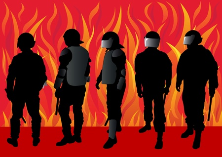 dispersal: Vector image of police officers on fire