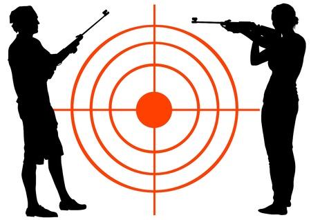 silhouette soldat: Les hommes et les femmes de dessin vectoriel avec des fusils