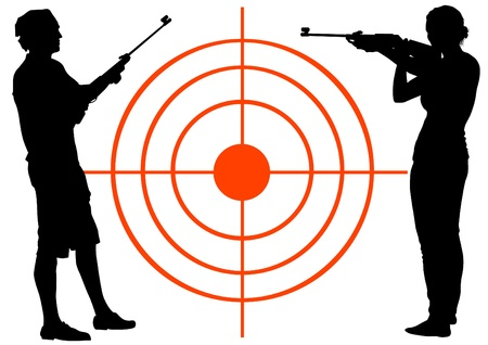 Vector drawing men and women with guns Vector