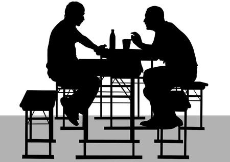Vektor-Zeichen-mans zu Tisch im Café
