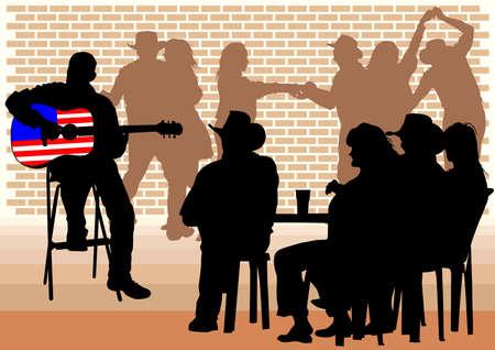 guitarristas: atraer a la gente en los caf�s. Siluetas de personas en la vida urbana Vectores
