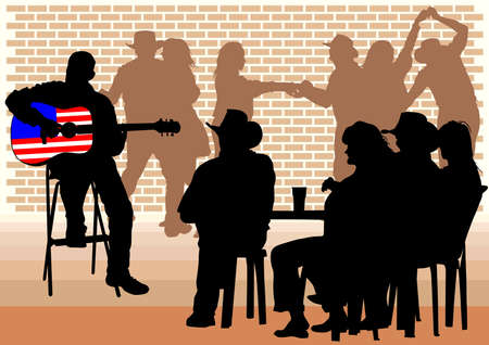 guitarists:  drawing people in cafes. Silhouettes of people in urban life